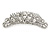 Bridal/ Wedding/ Prom/ Party Rhodium Plated Clear Crystal White Faux Pearl Hair Comb/ Tiara - 95mm - view 3