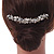 Large Vintage Inspired Clear Austrian Crystal White Glass Pearl Hair Comb In Gold Tone - 11cm - view 3