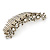 Large Vintage Inspired Clear Austrian Crystal White Glass Pearl Hair Comb In Gold Tone - 11cm
