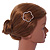 Rose Gold Tone Metal Clear Crystal Open Flower Hair Slide/ Grip - 60mm Across - view 2