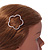 Rose Gold Tone Metal Clear Crystal Open Flower Hair Slide/ Grip - 60mm Across - view 3