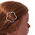 Silver Plated Clear Crystal Open Flower Hair Slide/ Grip - 60mm Across - view 3