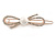 Small Rose Gold Tone Clear Crystal White Glass Bead Open Bow Hair Slide/ Grip - 50mm Across - view 4