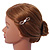 Small Rose Gold Tone Clear Crystal White Glass Bead Open Bow Hair Slide/ Grip - 50mm Across - view 2