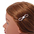Small Rose Gold Tone Clear Crystal White Glass Bead Open Bow Hair Slide/ Grip - 50mm Across - view 3