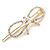 Gold Plated Clear Crystal Open Bow Hair Slide/ Grip - 55mm Across - view 1