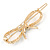 Gold Plated Clear Crystal Open Bow Hair Slide/ Grip - 55mm Across - view 5