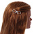 Gold Plated Clear Crystal Open Bow Hair Slide/ Grip - 55mm Across - view 2