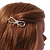 Gold Plated Clear Crystal Open Bow Hair Slide/ Grip - 55mm Across - view 3