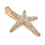 Clear Crystal Starfish Hair Beak Clip/ Concord Clip/ Clamp Clip In Gold Tone - 65mm L - view 6