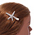 Clear Crystal Starfish Hair Beak Clip/ Concord Clip/ Clamp Clip In Gold Tone - 65mm L - view 3