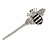 Cute Crystal Bee Hair Grip/ Slide In Silver Tone Metal - 55mm Across