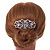Bridal/ Wedding/ Prom/ Party Art Deco Style Rhodium Plated Austrian Crystal Hair Comb - 85mm W - view 2