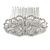Bridal/ Wedding/ Prom/ Party Art Deco Style Rhodium Plated Austrian Crystal Hair Comb - 85mm W - view 4