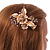Large Floral with Grey Faux Pearl Bead, Clear Crystal Hair Beak Clip/ Concord Clip In Rose Gold Tone - 80mm L - view 2