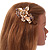 Large Floral with Grey Faux Pearl Bead, Clear Crystal Hair Beak Clip/ Concord Clip In Rose Gold Tone - 80mm L - view 3