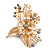 Large Floral with Grey Faux Pearl Bead, Clear Crystal Hair Beak Clip/ Concord Clip In Rose Gold Tone - 80mm L - view 5