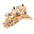 Large Floral with Grey Faux Pearl Bead, Clear Crystal Hair Beak Clip/ Concord Clip In Rose Gold Tone - 80mm L - view 7