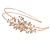 Bridal/ Wedding/ Prom Rose Gold Tone Clear Crystal, White Faux Pearl Floral Tiara Headband - Flex - view 4