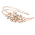 Bridal/ Wedding/ Prom Rose Gold Tone Clear Crystal, White Faux Pearl Floral Tiara Headband - Flex - view 6