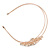 Bridal/ Wedding/ Prom Rose Gold Tone Clear Crystal, White Faux Pearl Floral Tiara Headband - Flex - view 7
