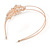 Bridal/ Wedding/ Prom Rose Gold Tone Clear Crystal, White Faux Pearl Floral Tiara Headband - Flex - view 8