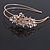 Bridal/ Wedding/ Prom Rose Gold Tone Clear Crystal, White Faux Pearl Floral Tiara Headband - Flex - view 3