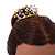 Fairy Princess Bridal/ Wedding/ Prom/ Party Gold Tone Clear Crystal and Transparent Glass Bead Floral Mini Hair Comb Tiara - 65mm - view 4