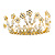 Fairy Princess Bridal/ Wedding/ Prom/ Party Gold Tone Clear Crystal and Transparent Glass Bead Floral Mini Hair Comb Tiara - 65mm - view 8