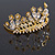 Fairy Princess Bridal/ Wedding/ Prom/ Party Gold Tone Clear Crystal and Transparent Glass Bead Floral Mini Hair Comb Tiara - 65mm - view 7