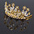 Fairy Princess Bridal/ Wedding/ Prom/ Party Gold Tone Clear Crystal and Transparent Glass Bead Floral Mini Hair Comb Tiara - 65mm - view 5