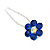 Bridal/ Wedding/ Prom/ Party Set Of 6 Sapphired Blue Austrian Crystal Daisy Flower Hair Pins In Silver Tone - view 6