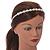 Bridal/ Prom/ Wedding Light Cream Faux Pearl Flex Hair Band/ Headband in Silver Tone Metal - Adjustable - view 3