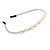 Bridal/ Prom/ Wedding Light Cream Faux Pearl Flex Hair Band/ Headband in Silver Tone Metal - Adjustable - view 4