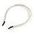 Bridal/ Prom/ Wedding Light Cream Faux Pearl Flex Hair Band/ Headband in Silver Tone Metal - Adjustable - view 7