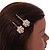 2 Bridal/ Prom Clear Crystal, Pearl Flower Hair Grips/ Slides In Gold Plating - 60mm Across - view 3