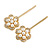 2 Bridal/ Prom Clear Crystal, Pearl Flower Hair Grips/ Slides In Gold Plating - 60mm Across - view 4