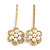 2 Bridal/ Prom Clear Crystal, Pearl Flower Hair Grips/ Slides In Gold Plating - 60mm Across