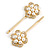 2 Bridal/ Prom Clear Crystal, Pearl Flower Hair Grips/ Slides In Gold Plating - 60mm Across - view 5