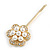 2 Bridal/ Prom Clear Crystal, Pearl Flower Hair Grips/ Slides In Gold Plating - 60mm Across - view 7