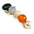 Small Multicoloured Acrylic Bead Barrette Hair Clip Grip in Gold Tone - 65mm W