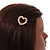 Small Gold Tone Clear Crystal Heart Hair Slide/ Grip - 50mm Across - view 3