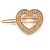 Small Gold Tone Clear Crystal Heart Hair Slide/ Grip - 50mm Across - view 4