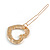 Small Gold Tone Clear Crystal Heart Hair Slide/ Grip - 50mm Across - view 6