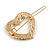 Small Gold Tone Clear Crystal Heart Hair Slide/ Grip - 50mm Across - view 7