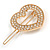 Small Gold Tone Clear Crystal Heart Hair Slide/ Grip - 50mm Across - view 5