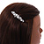 Small Faux White Glass Pearl Bead Clear Crystal Barrette Hair Clip Grip in Silver Tone - 60mm W - view 4