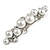 Small Faux White Glass Pearl Bead Clear Crystal Barrette Hair Clip Grip in Silver Tone - 60mm W
