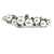Small Faux White Glass Pearl Bead Clear Crystal Barrette Hair Clip Grip in Silver Tone - 60mm W - view 7