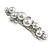 Small Faux White Glass Pearl Bead Clear Crystal Barrette Hair Clip Grip in Silver Tone - 60mm W - view 2